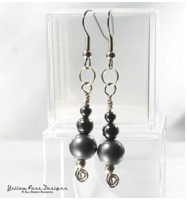 Wire Wrapped Bead Hematite Earrings